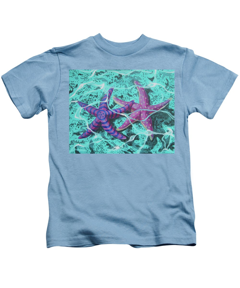 Starfish Kids T-Shirt featuring the painting Starfish In Love by Tommy Midyette