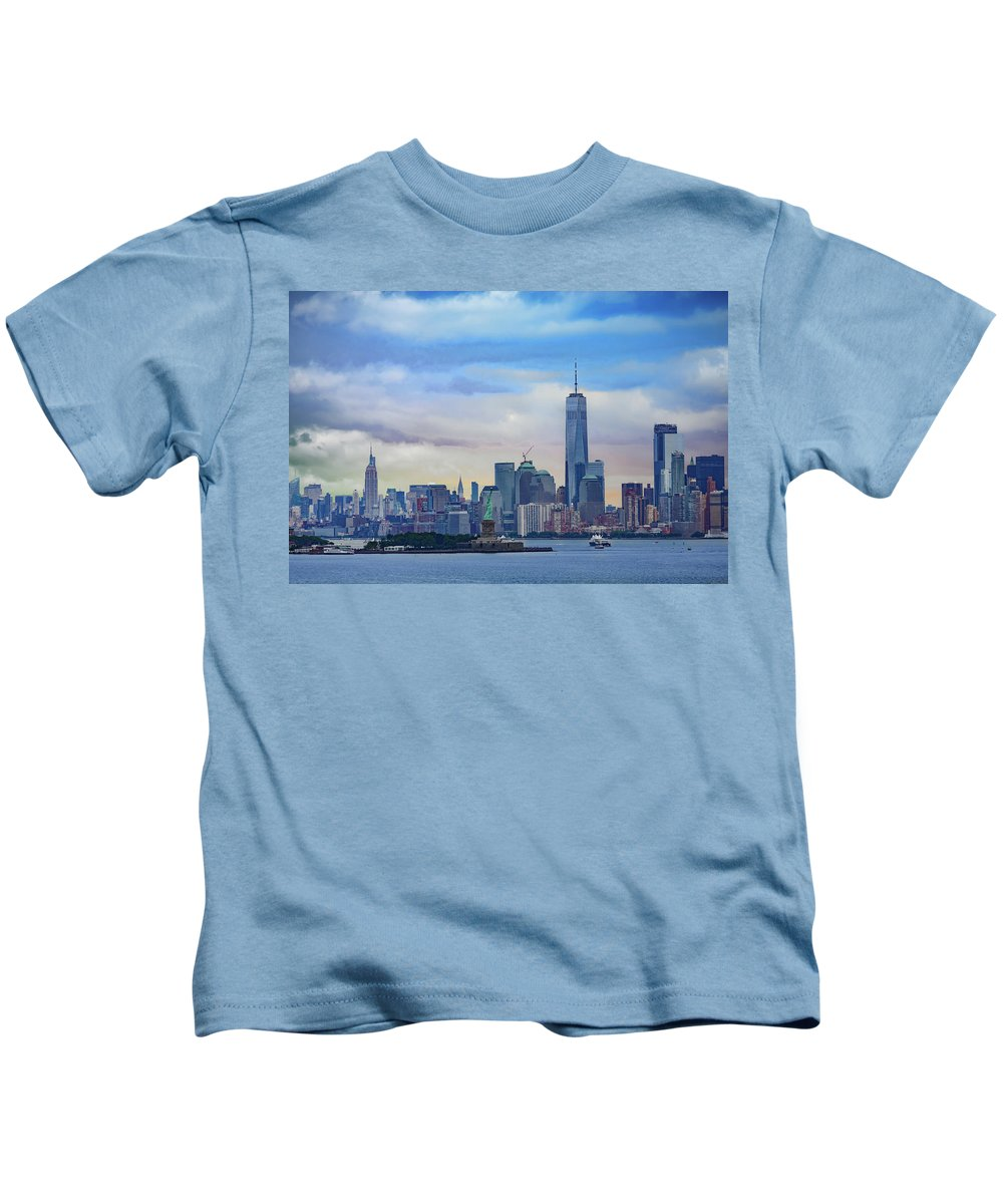 Skyline Kids T-Shirt featuring the photograph Statue Of Liberty And Manhattan by Darryl Brooks
