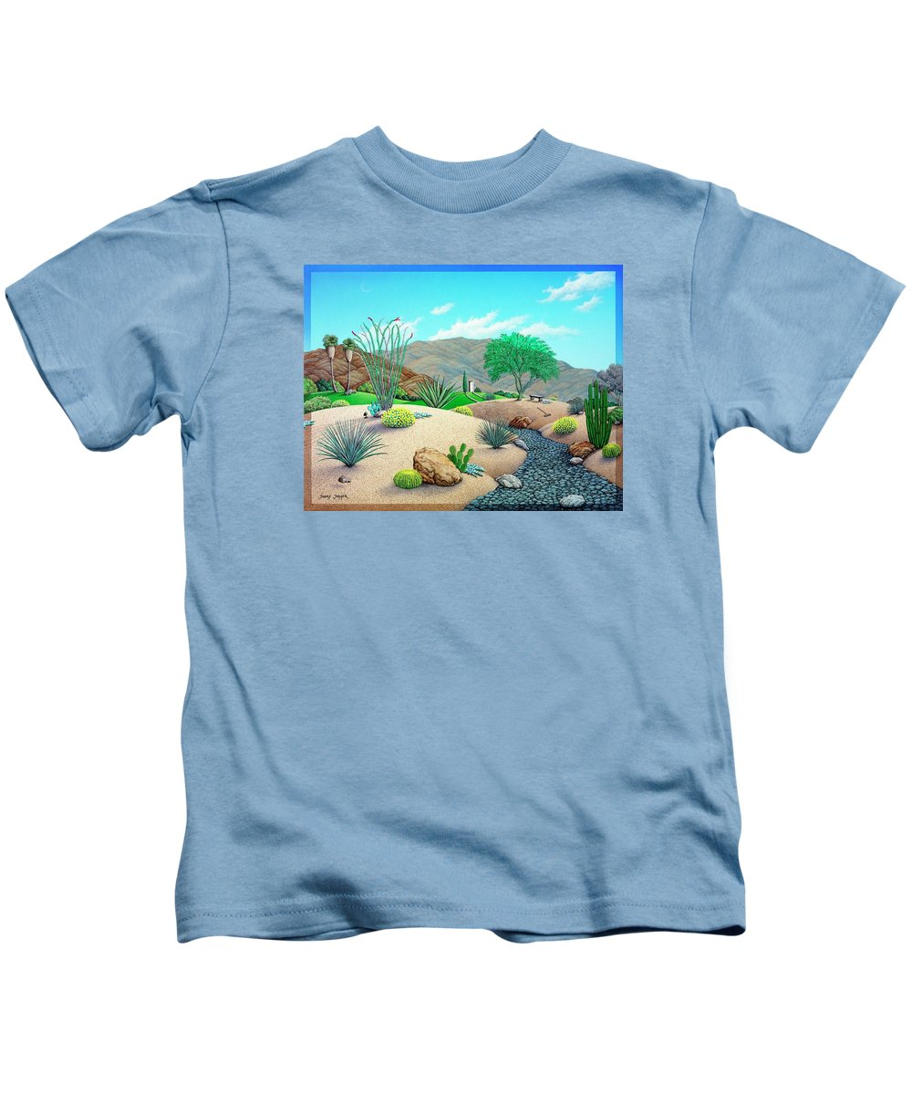 Desert Kids T-Shirt featuring the painting Steves Yard by Snake Jagger