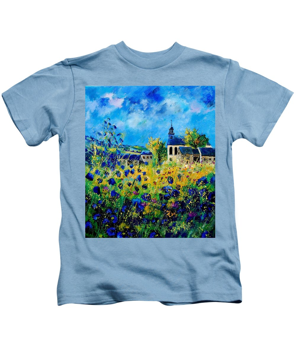 Poppies Kids T-Shirt featuring the painting Summer In Foy Notre Dame by Pol Ledent