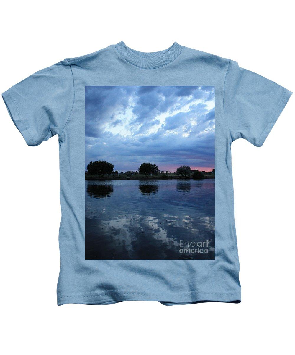 Blue Kids T-Shirt featuring the photograph Summer Sunset On Yakima River 5 by Carol Groenen