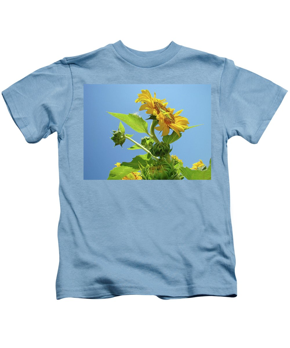 Sunflower Kids T-Shirt featuring the photograph Sun Flower Artwork Sunflower 5 Giclee Art Prints Baslee Troutman by Baslee Troutman