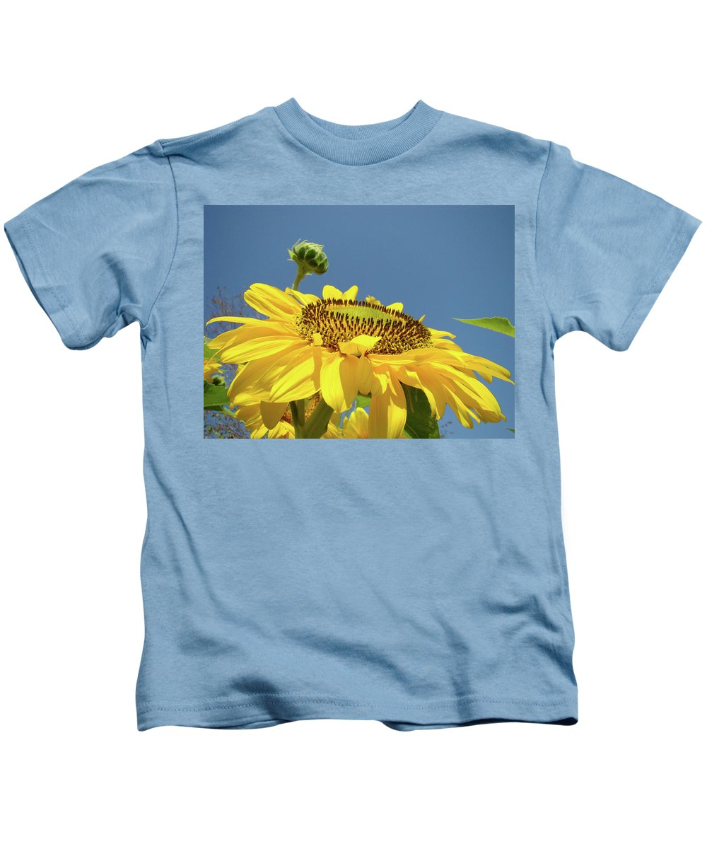Sunflower Kids T-Shirt featuring the photograph Sun Flowers Summer Sunny Day 8 Blue Skies Giclee Art Prints Baslee Troutman by Baslee Troutman