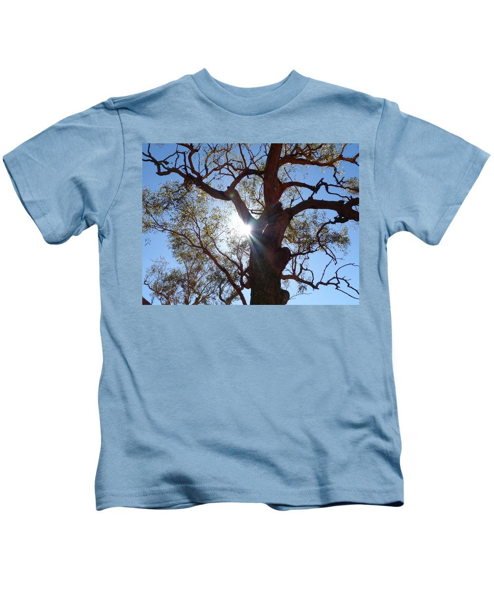 Kids T-Shirt featuring the photograph Sun Tree by Nigel Photogarphy