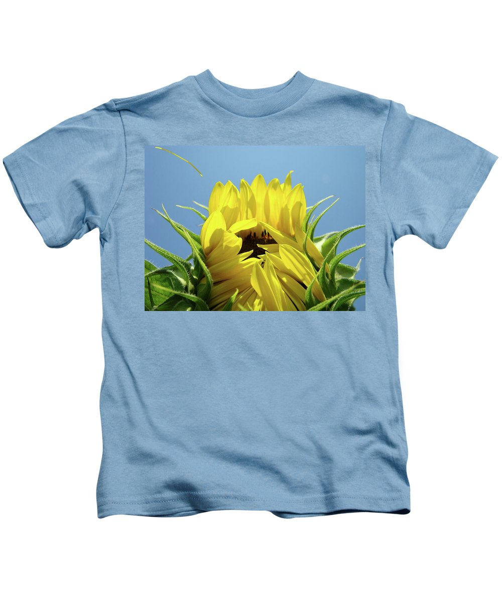 Sunflower Kids T-Shirt featuring the photograph Sunflower Opening Sunny Summer Day 1 Giclee Art Prints Baslee Troutman by Baslee Troutman