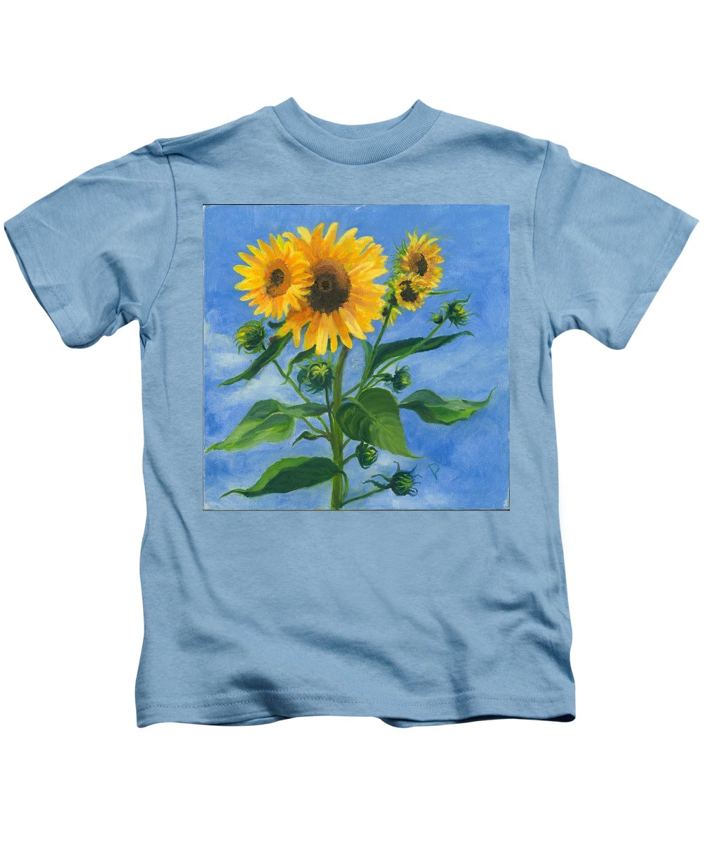 Flowers Kids T-Shirt featuring the painting Sunflowers On Bauer Farm by Paula Emery