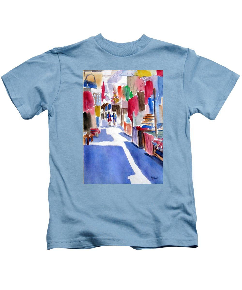 Market Kids T-Shirt featuring the painting Sunny Day At The Market by Marsha Elliott