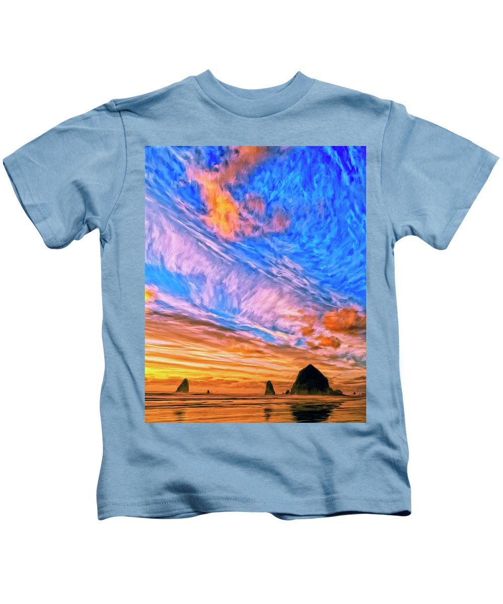 Cannon Beach Kids T-Shirt featuring the painting Sunset At Cannon Beach by Dominic Piperata