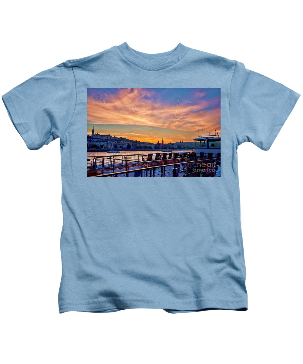 Sunset Kids T-Shirt featuring the photograph Sunset Budapest by Keith Ducker