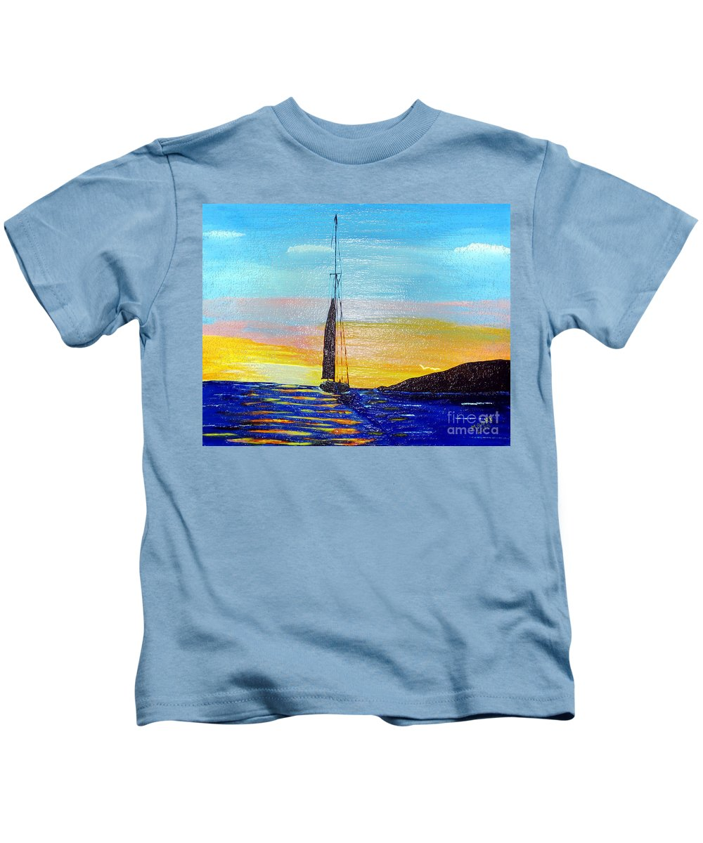 Sunset Kids T-Shirt featuring the painting Sunset D2 by Michael Moore
