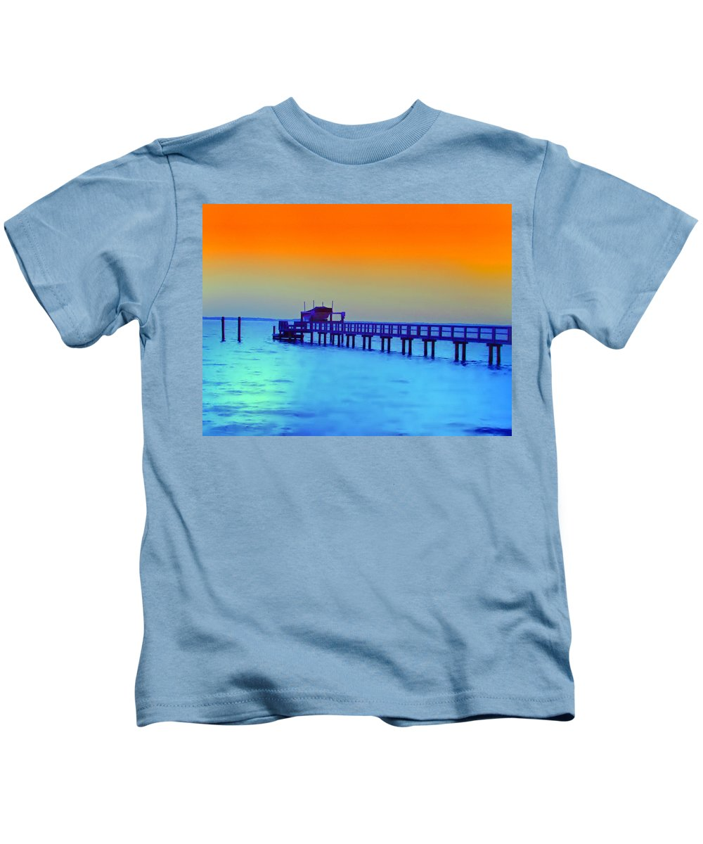 Florida Kids T-Shirt featuring the photograph Sunset On The Pier by Bill Cannon