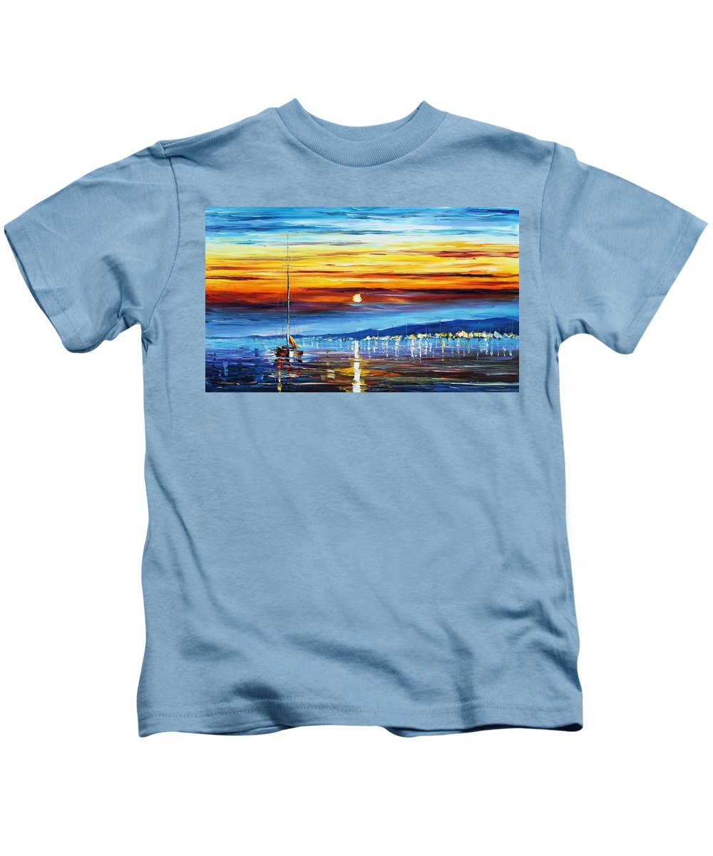 Afremov Kids T-Shirt featuring the painting Sunset Over California by Leonid Afremov