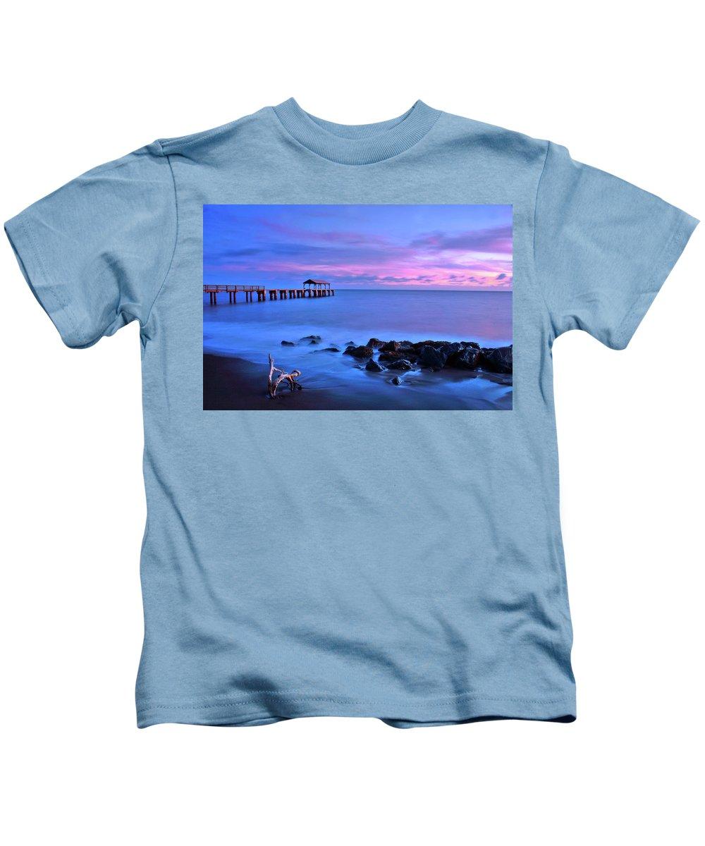 Pier Kids T-Shirt featuring the photograph Sunset Pier by Scott Mahon