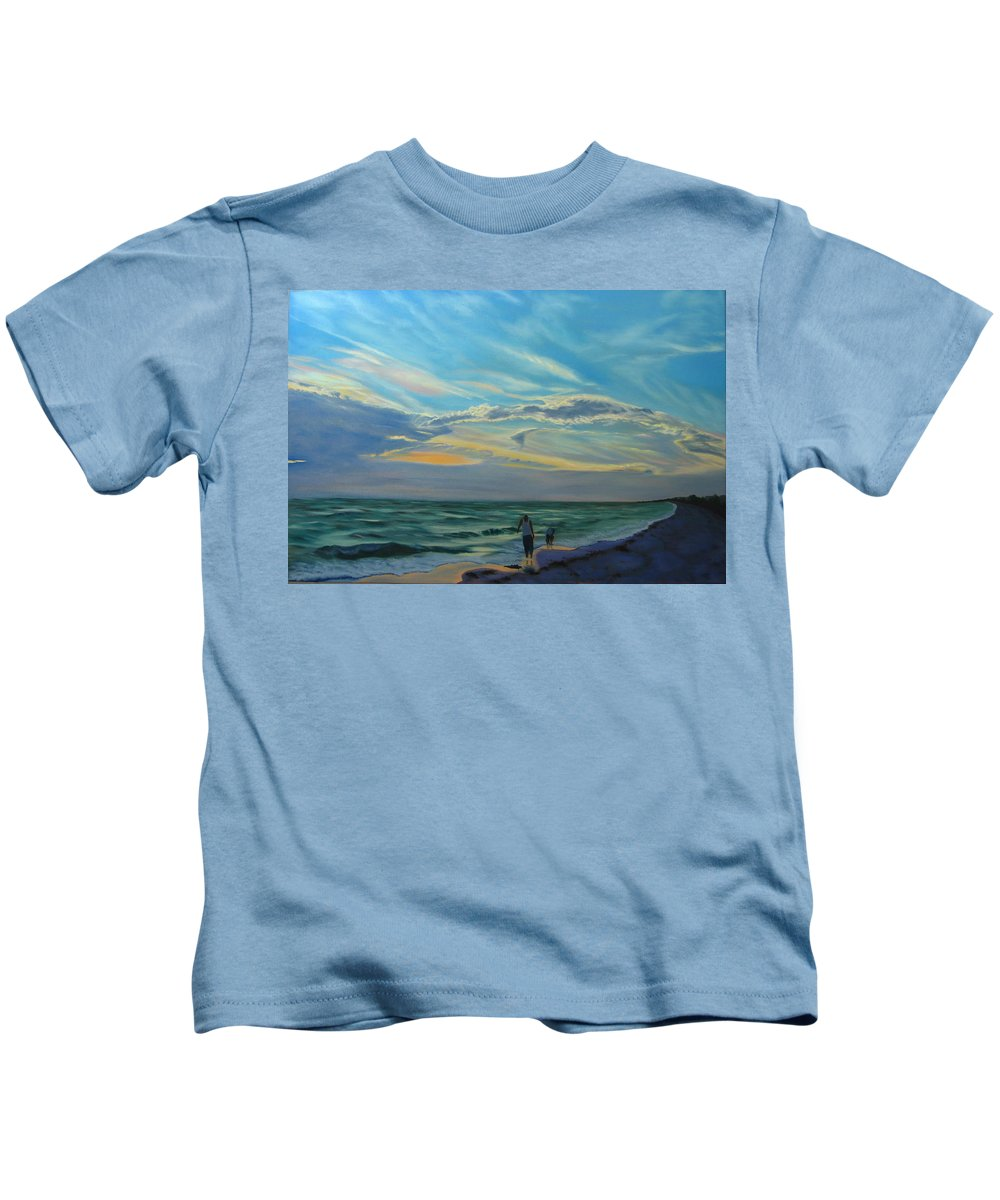 Seascape Kids T-Shirt featuring the painting Sunset Treasure Hunt by Lea Novak