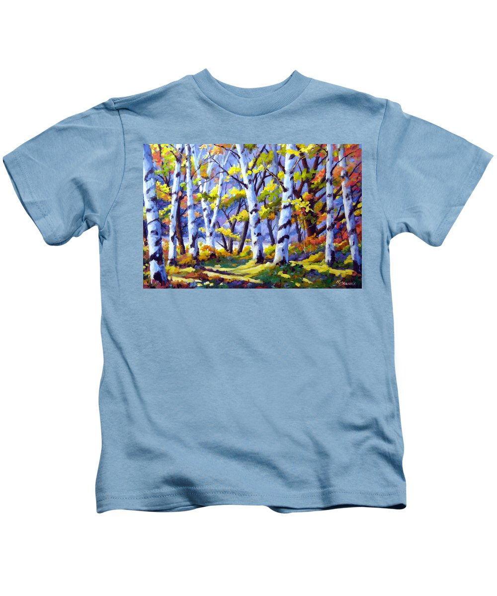 Art Kids T-Shirt featuring the painting Sunshine And Birches by Richard T Pranke