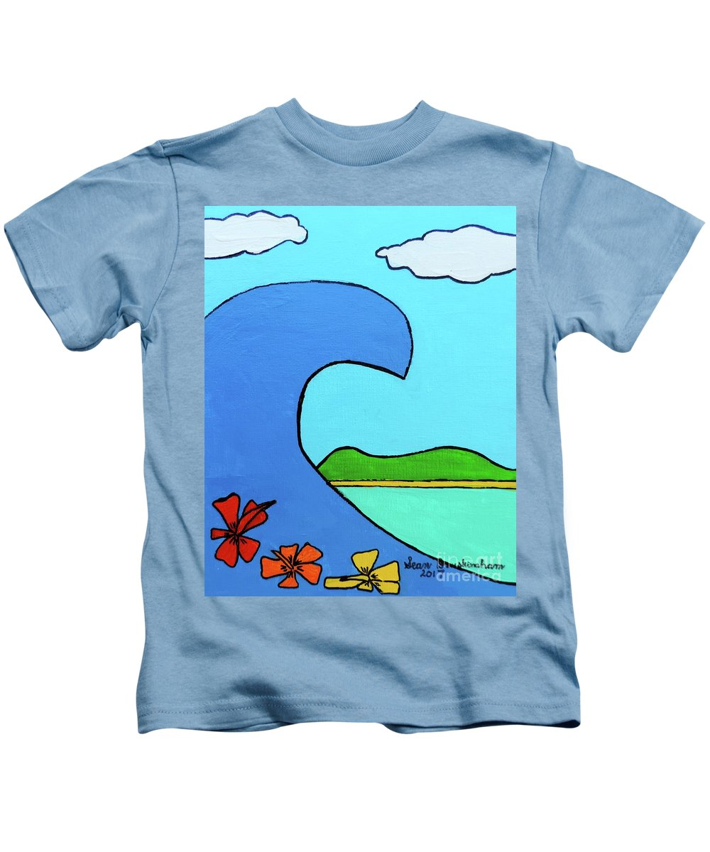 Surf Kids T-Shirt featuring the painting Surf's Up by Sean Brushingham