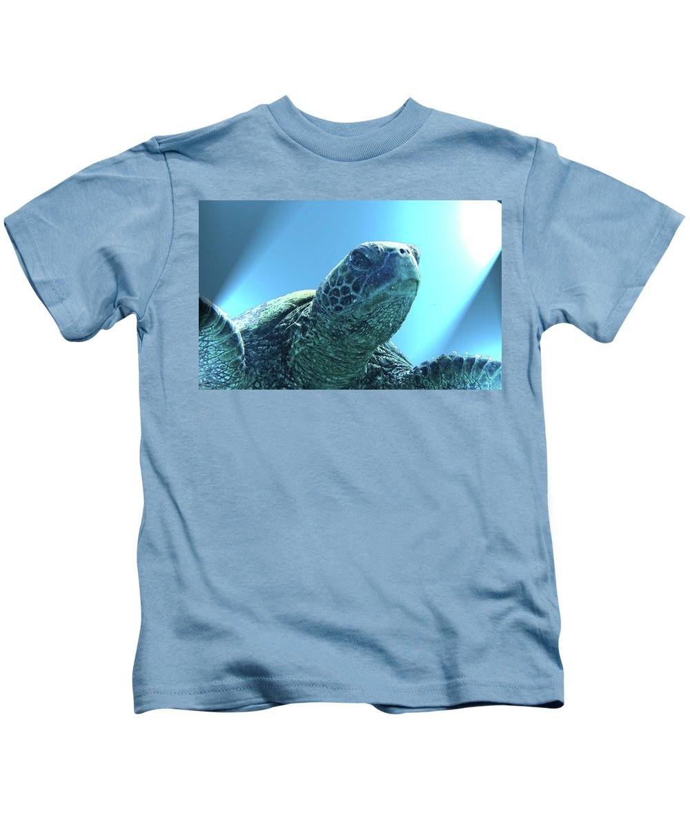 Sea Turtle Kids T-Shirt featuring the photograph Susie by Radine Coopersmith