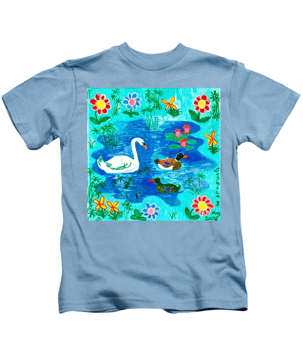 Sue Burgess Kids T-Shirt featuring the painting Swan And Two Ducks by Sushila Burgess