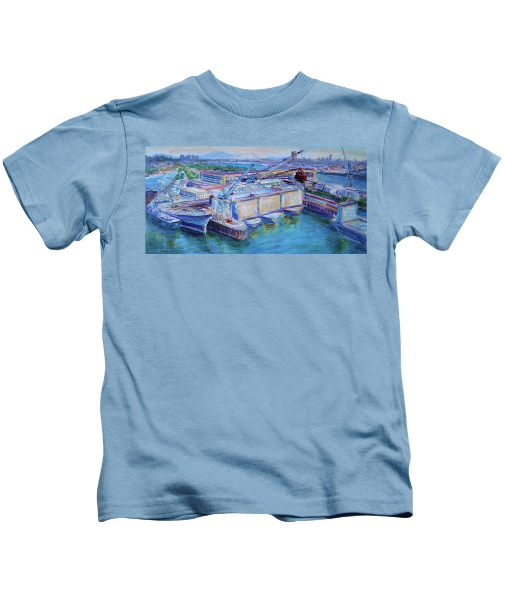Shipping Kids T-Shirt featuring the painting Swan Island Poetry - Large Original Contempory Impressionist Painting by Quin Sweetman