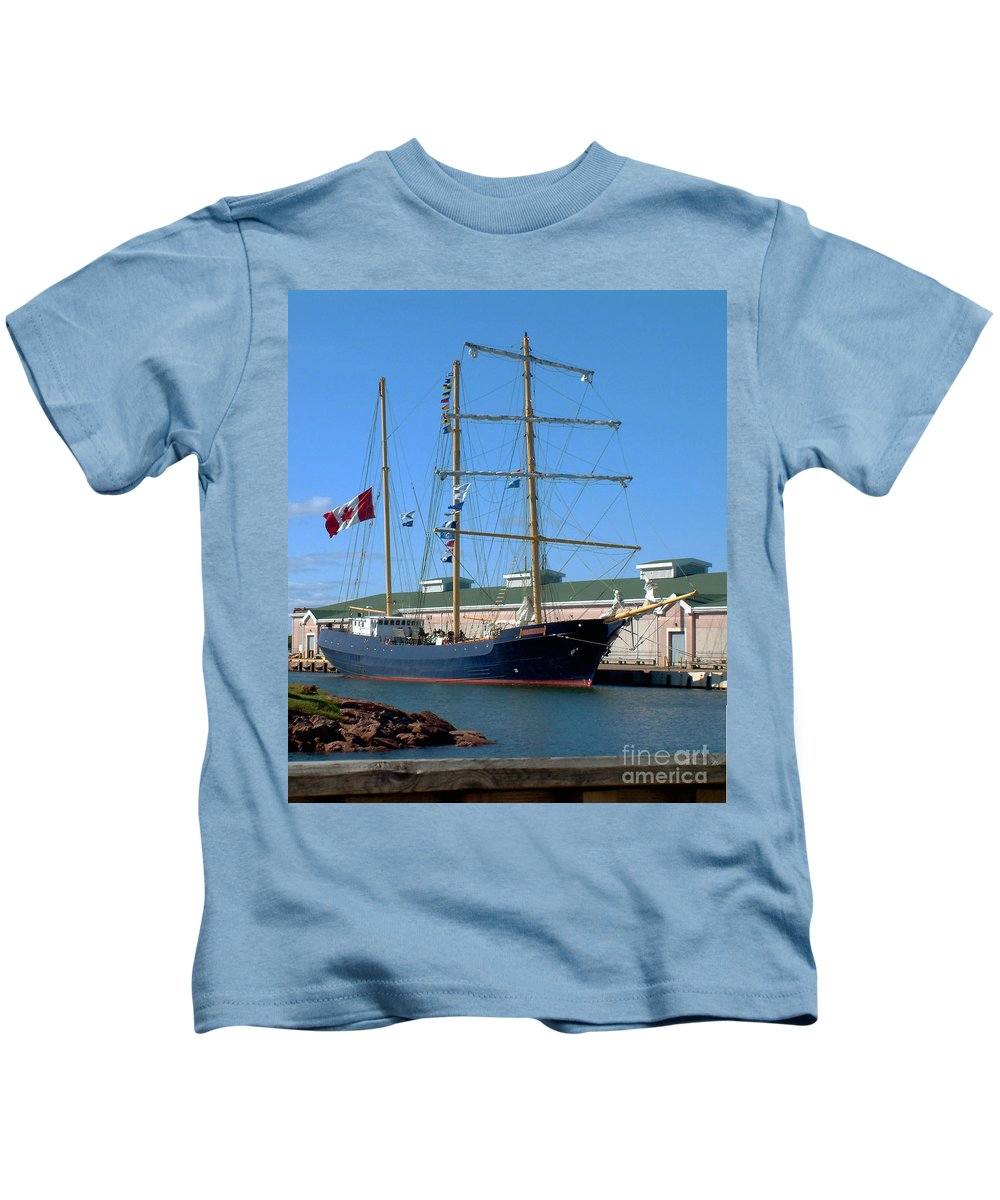 Dock Kids T-Shirt featuring the photograph Tall Ship Waiting by RC DeWinter