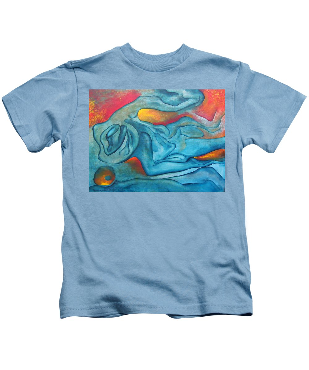 Abstract Blues Love Passion Sensual Earth Kids T-Shirt featuring the painting Tangled Up by Veronica Jackson