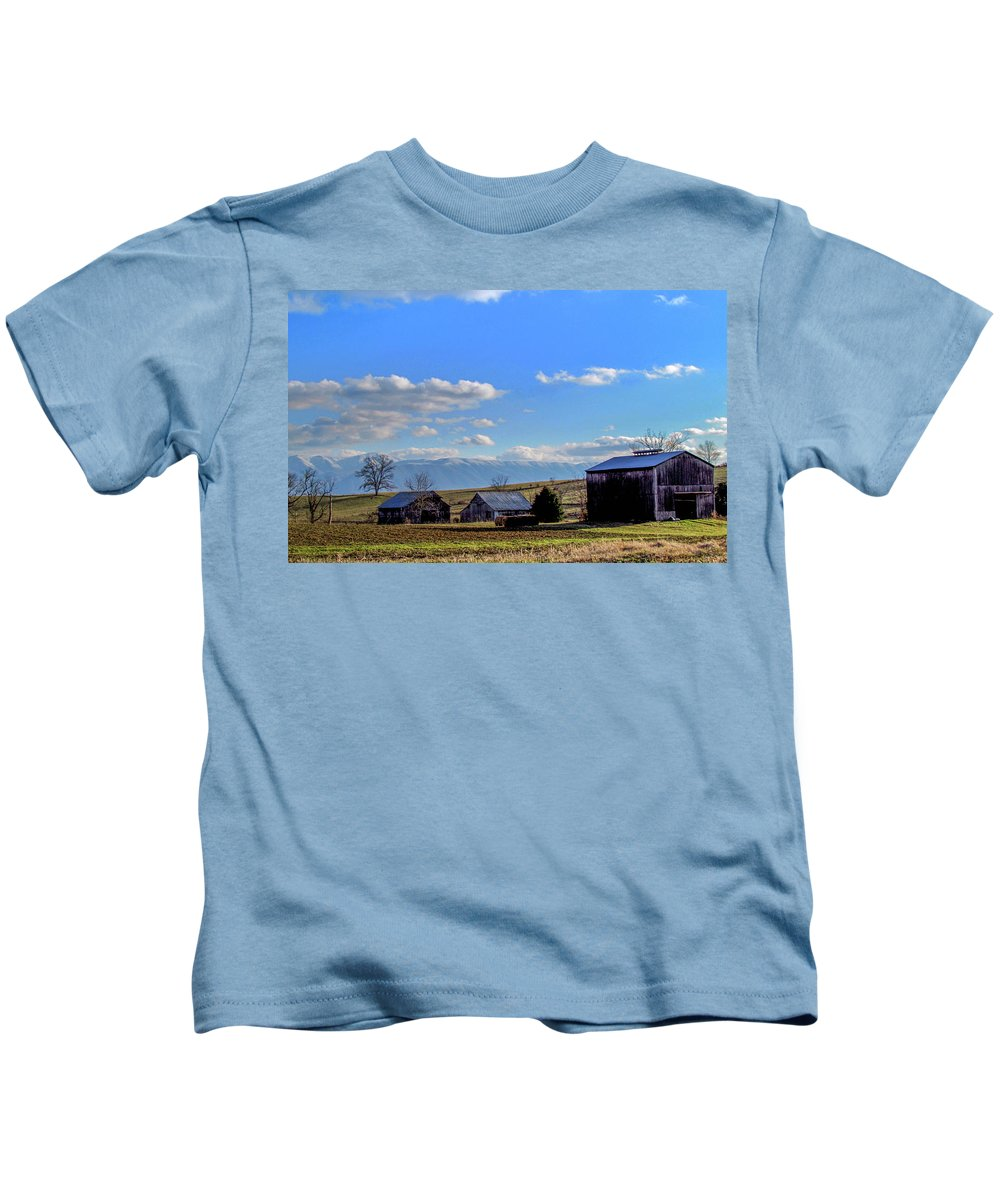 Country Farm Winter Mountains Snow Rural Landscape Kids T-Shirt featuring the photograph Tennessee Farm by Judy Baird