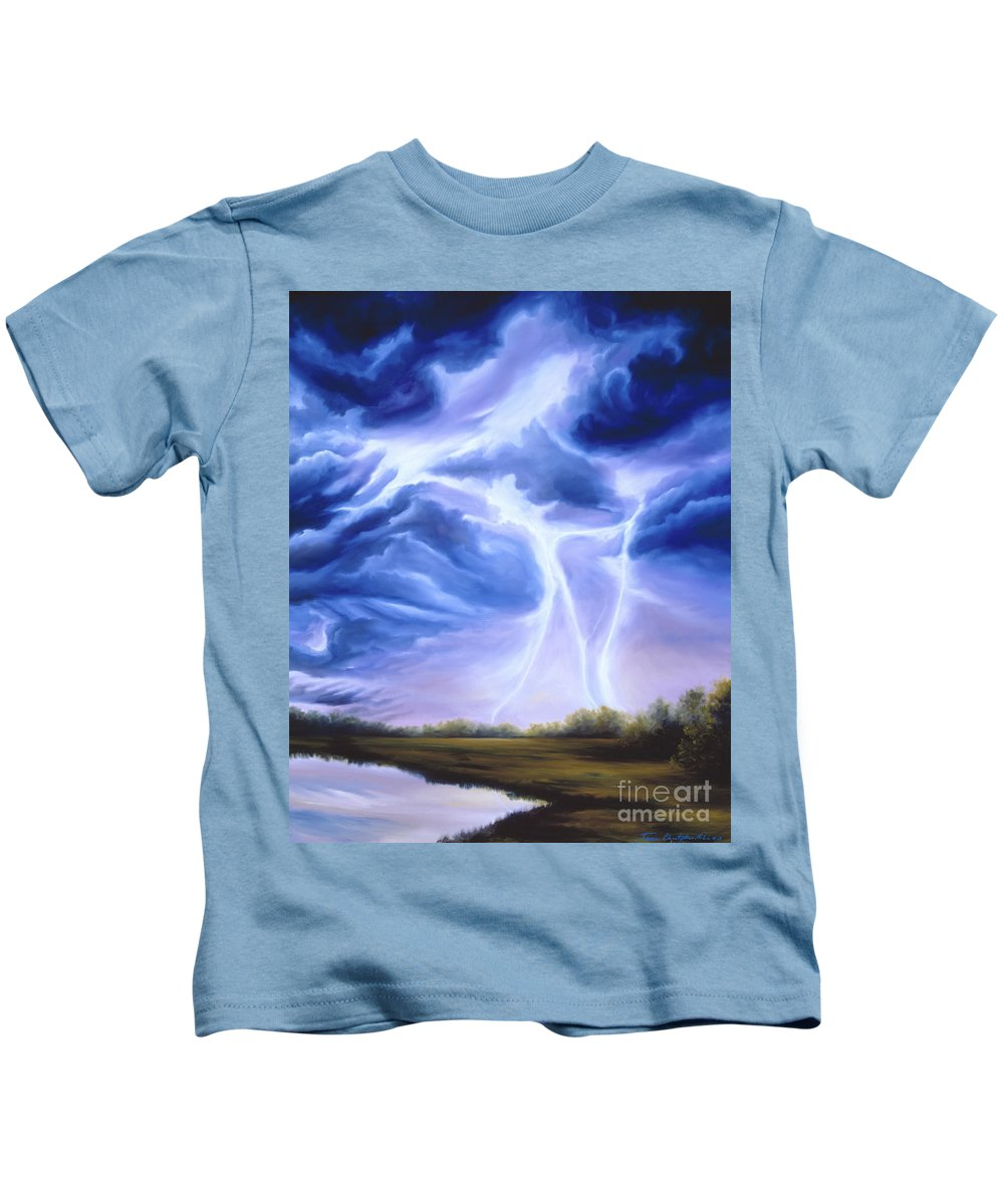 Marsh Kids T-Shirt featuring the painting Tesla by James Christopher Hill