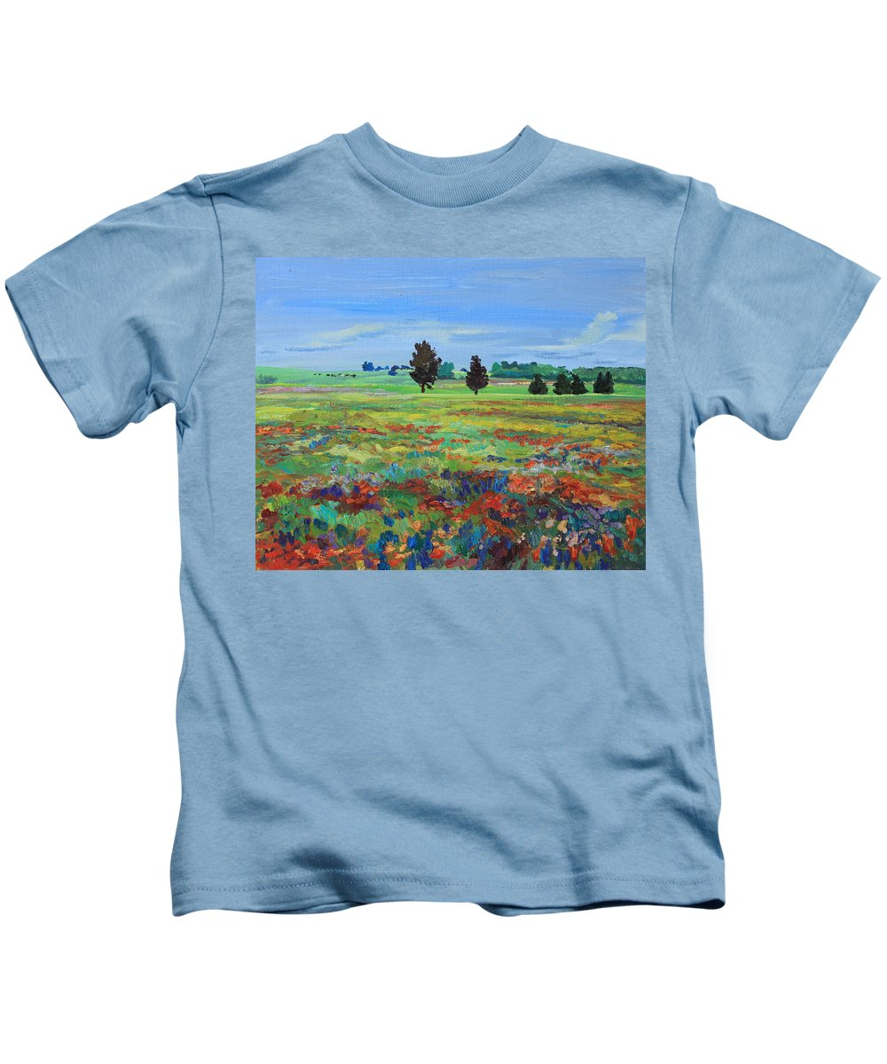 Painting Kids T-Shirt featuring the painting Texas Landscape Bluebonnet Indian Paintbrush Explosion by Maris Salmins