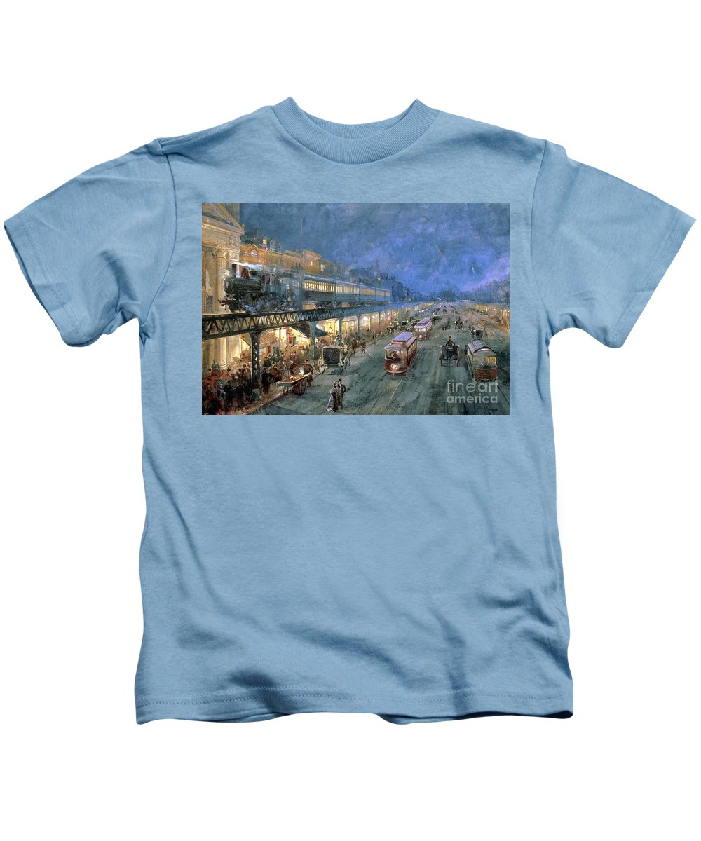The Bowery At Night Kids T-Shirt featuring the painting The Bowery At Night by William Sonntag