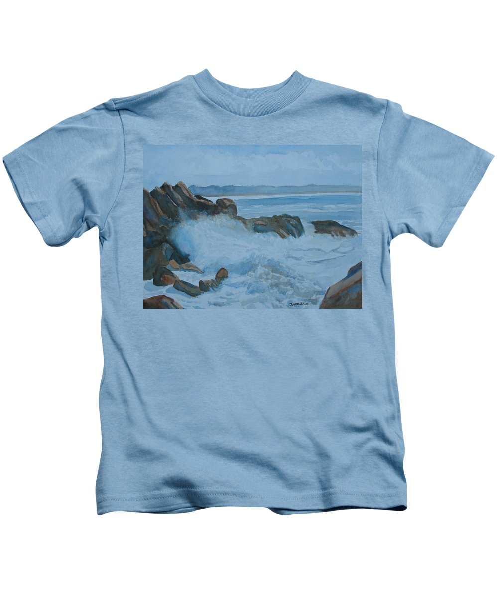Breakers Kids T-Shirt featuring the painting The Breakers Below Yaquina Head I by Jenny Armitage