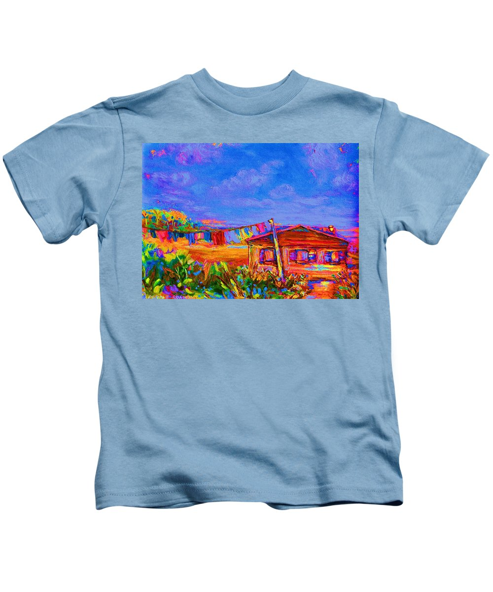 Clothesline Scenes Kids T-Shirt featuring the painting The Clothesline by Carole Spandau