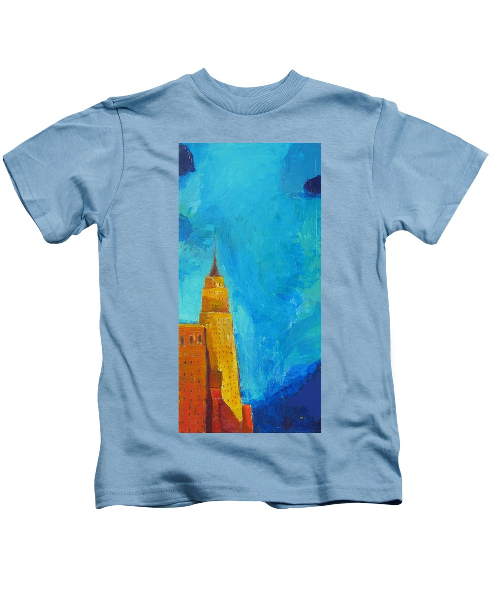 Abstract Cityscape Kids T-Shirt featuring the painting The Empire State by Habib Ayat