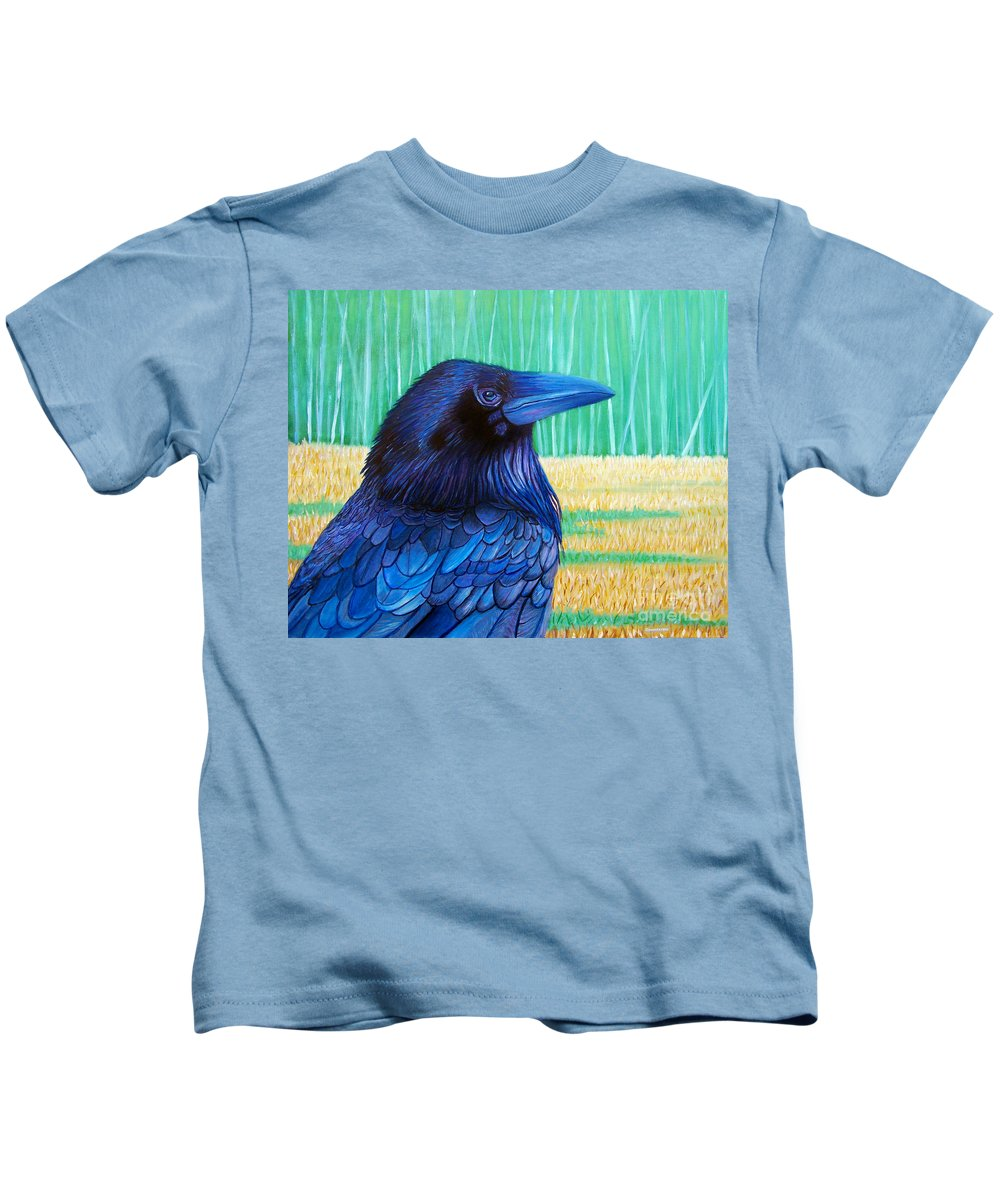 Raven Kids T-Shirt featuring the painting The Field Of Dreams by Brian Commerford