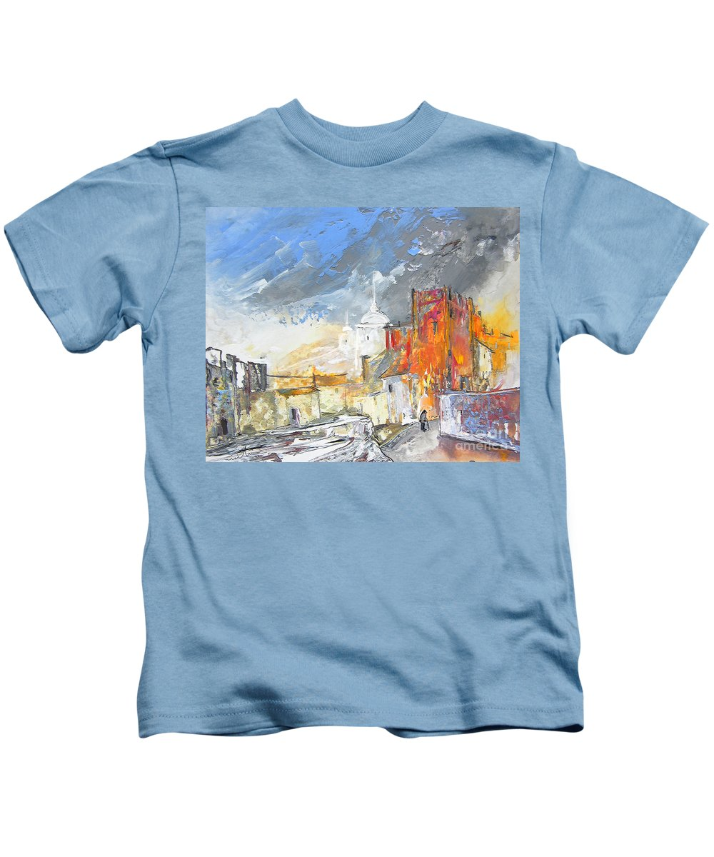 Gouache Kids T-Shirt featuring the painting The Ghost Of Religion In Spain by Miki De Goodaboom