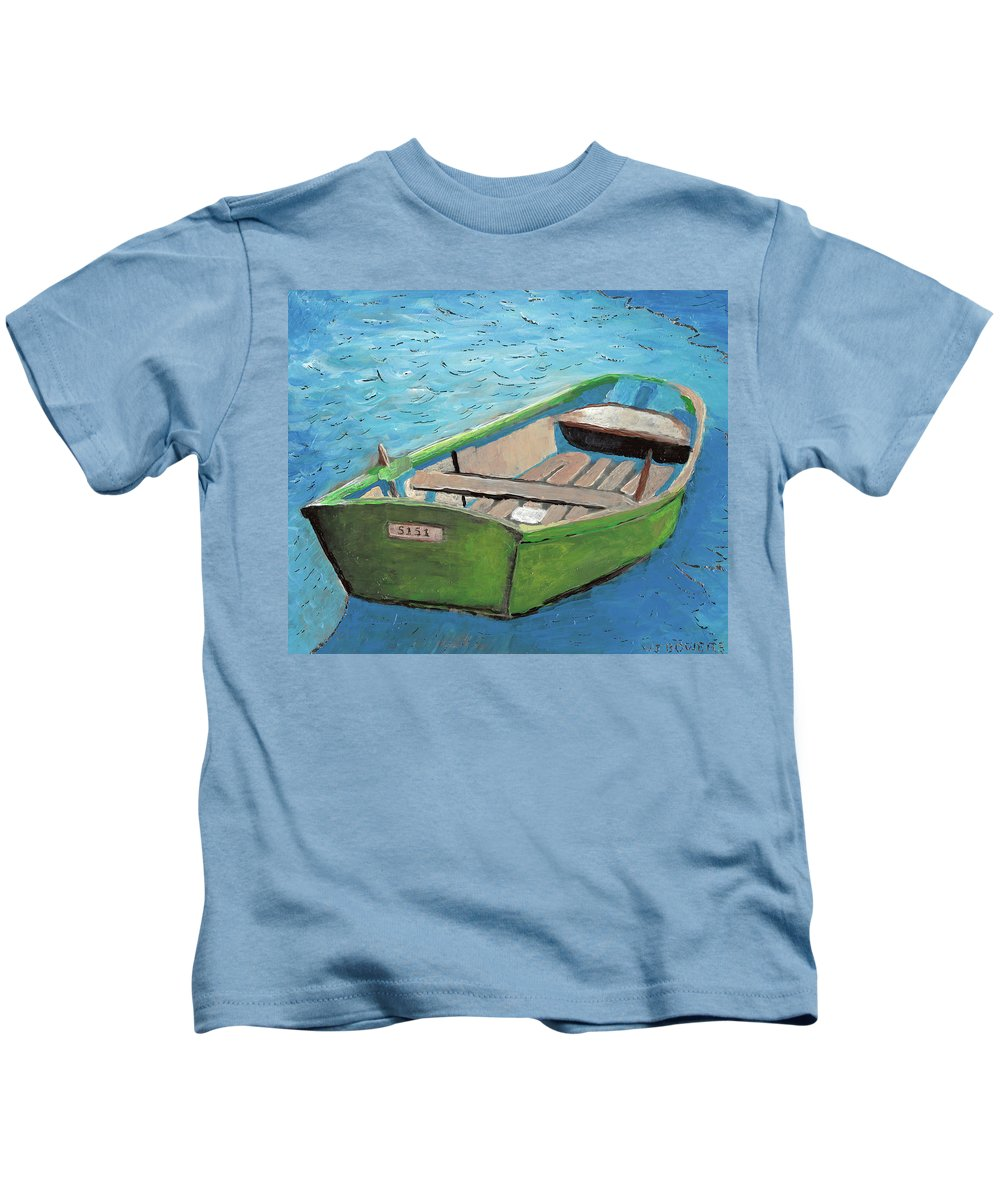 Rowboat Kids T-Shirt featuring the painting The Green Rowboat by William Bowers