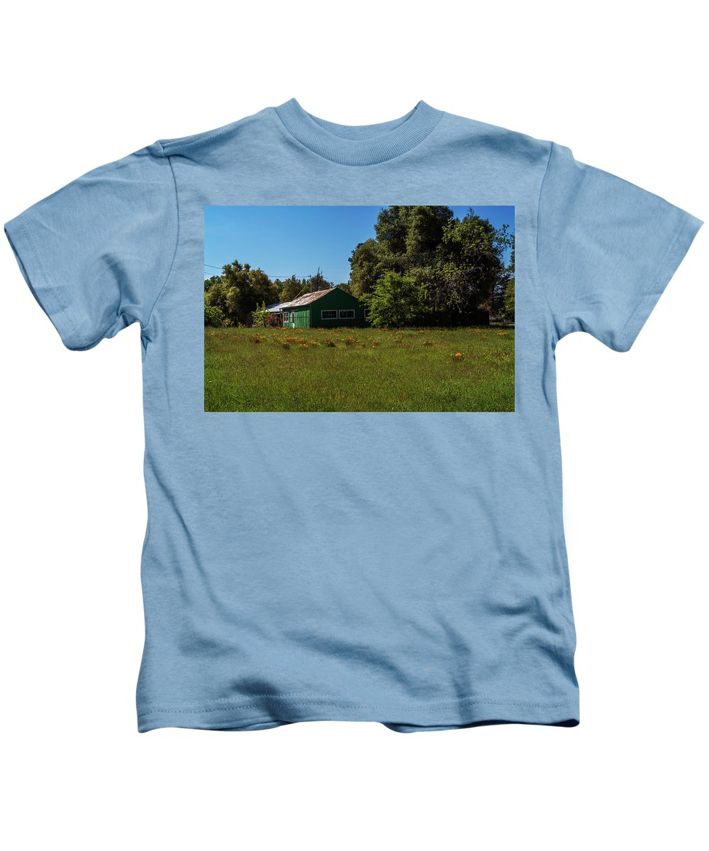 Shack Kids T-Shirt featuring the photograph The Green Shack by Mary Chris Hines