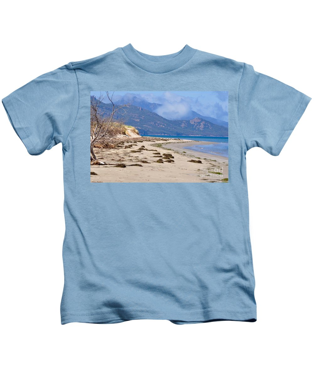 Coals Bay Kids T-Shirt featuring the photograph The Hazards From The Beach by Csilla Florida