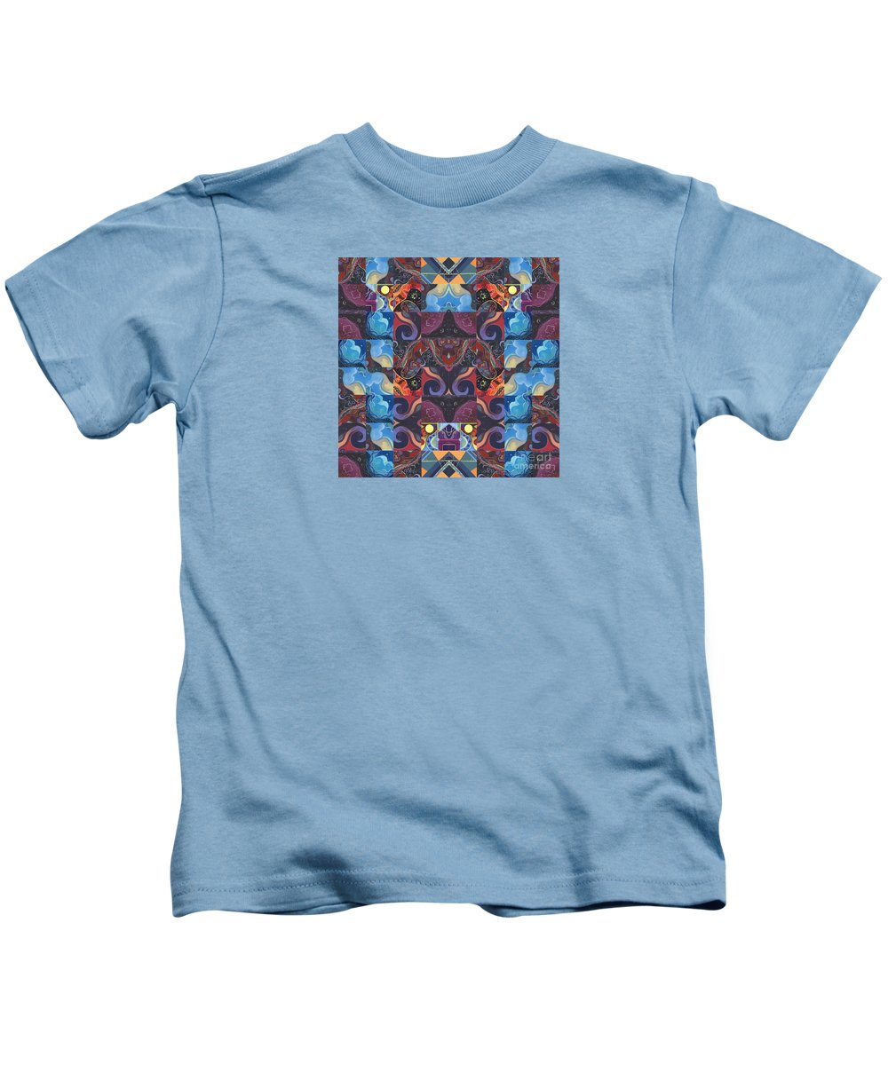 Joy Of Design Series Kids T-Shirt featuring the digital art The Joy Of Design Mandala Series Puzzle 6 Arrangement 5 by Helena Tiainen