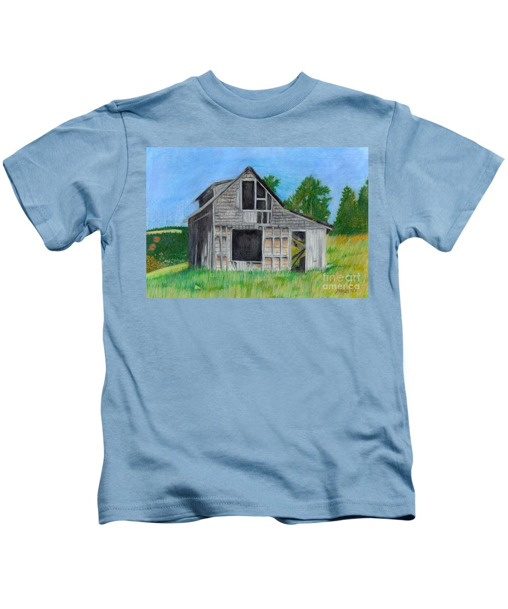 Nature Kids T-Shirt featuring the pastel The Last Stage Stop by Mendy Pedersen