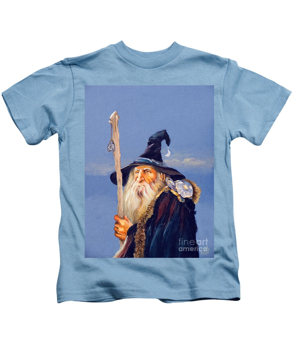 Wizard Kids T-Shirt featuring the painting The Navigator by J W Baker