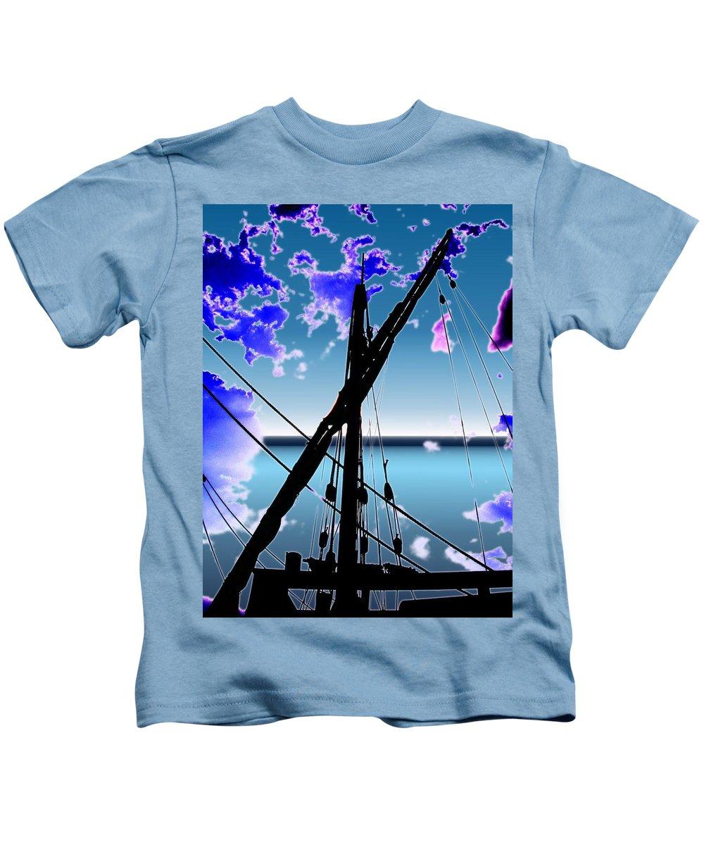 Seattle Kids T-Shirt featuring the digital art The Nina Mast by Tim Allen