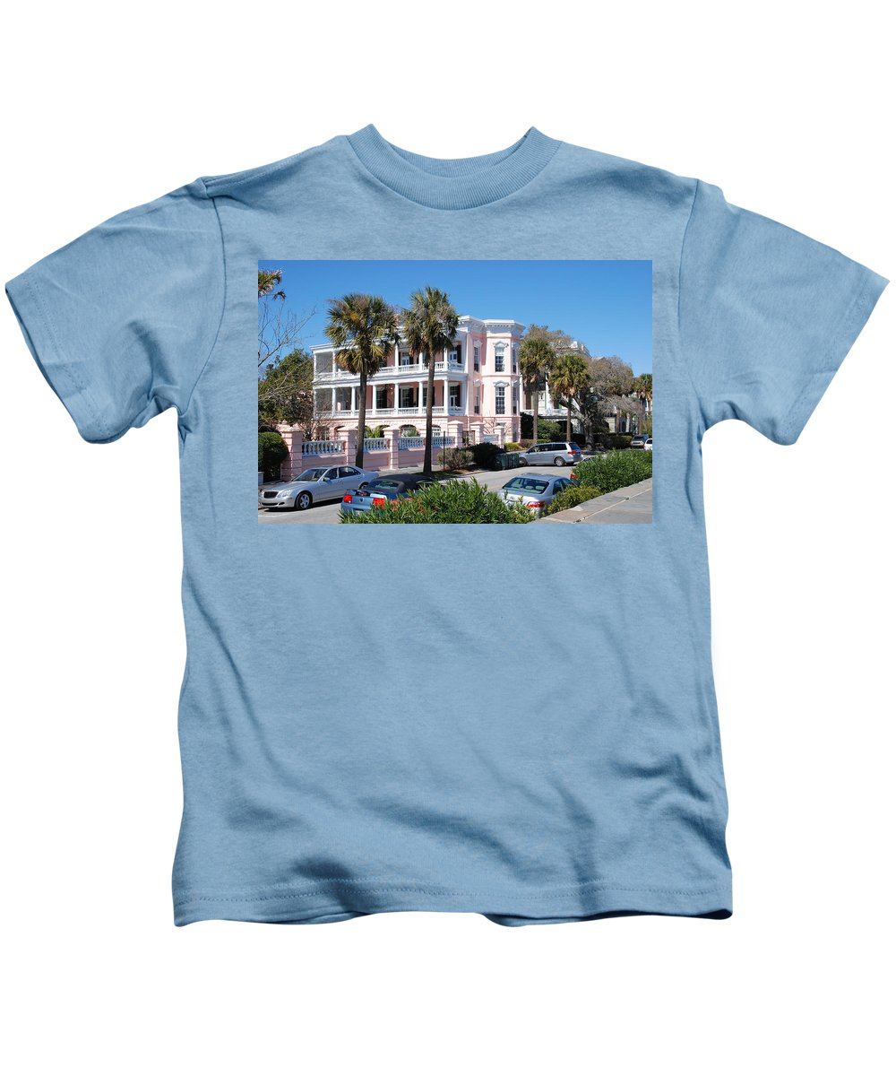Photography Kids T-Shirt featuring the photograph The Pink Battery House by Susanne Van Hulst