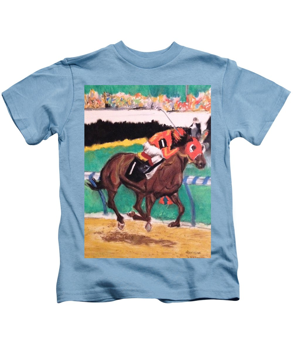Horse Kids T-Shirt featuring the pastel The Race by Michael Martone