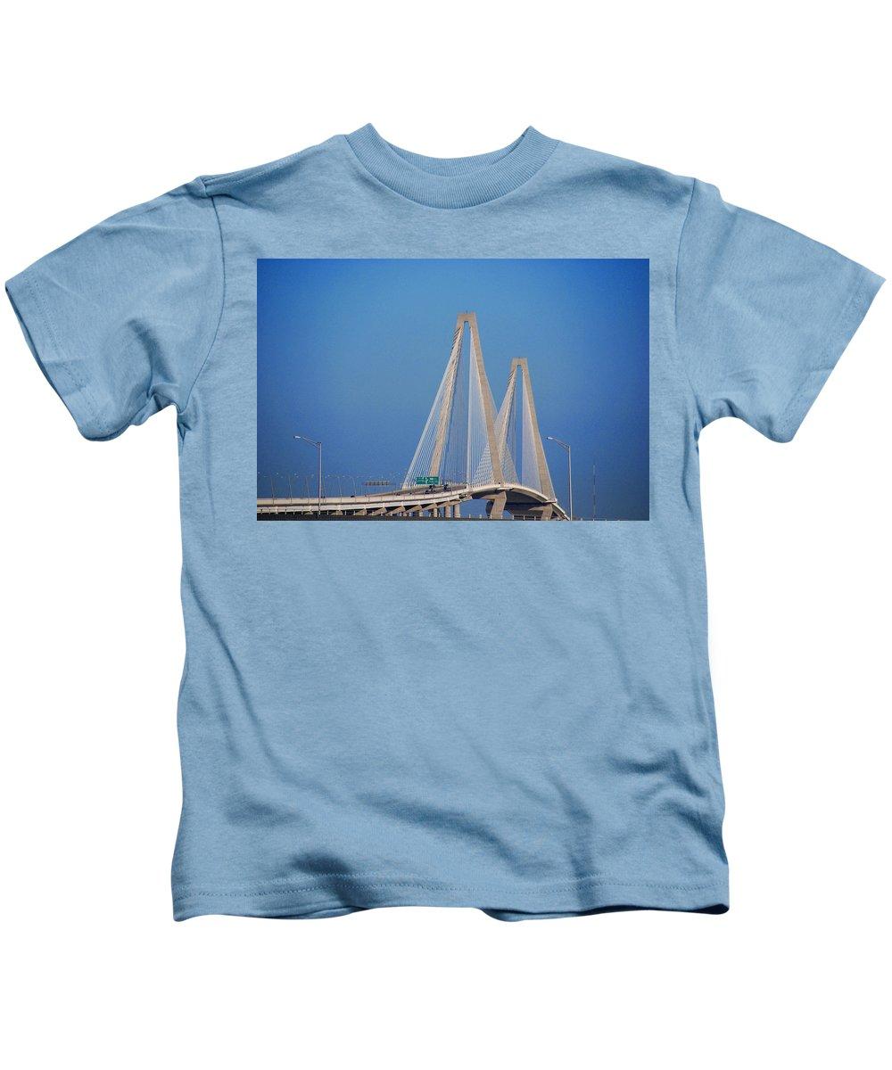 Photography Kids T-Shirt featuring the photograph The Ravanel Bridge In Charleston by Susanne Van Hulst