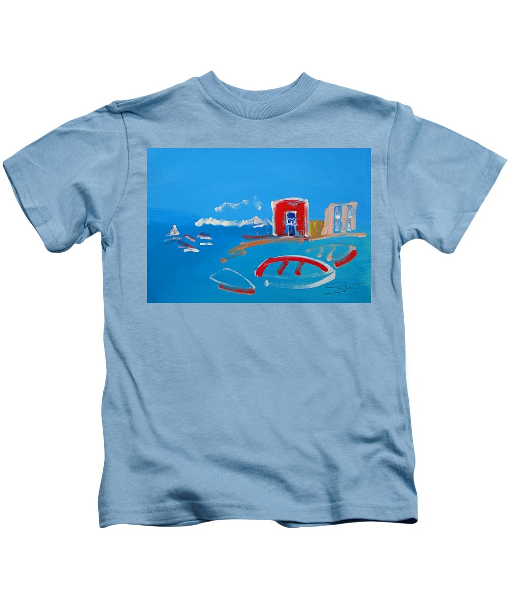 Puerto Kids T-Shirt featuring the painting The Red House La Casa Roja by Charles Stuart