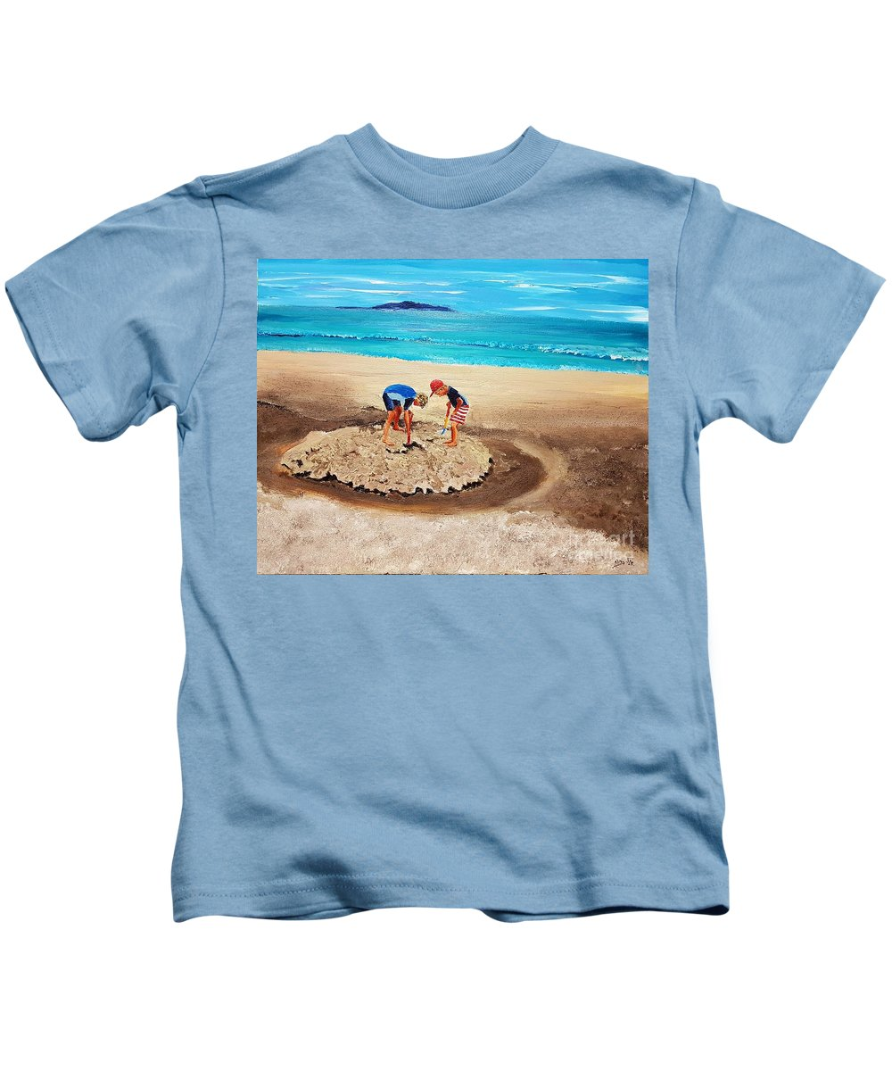 Children Kids T-Shirt featuring the painting The Sea Surges Up With Laughter by Eli Gross