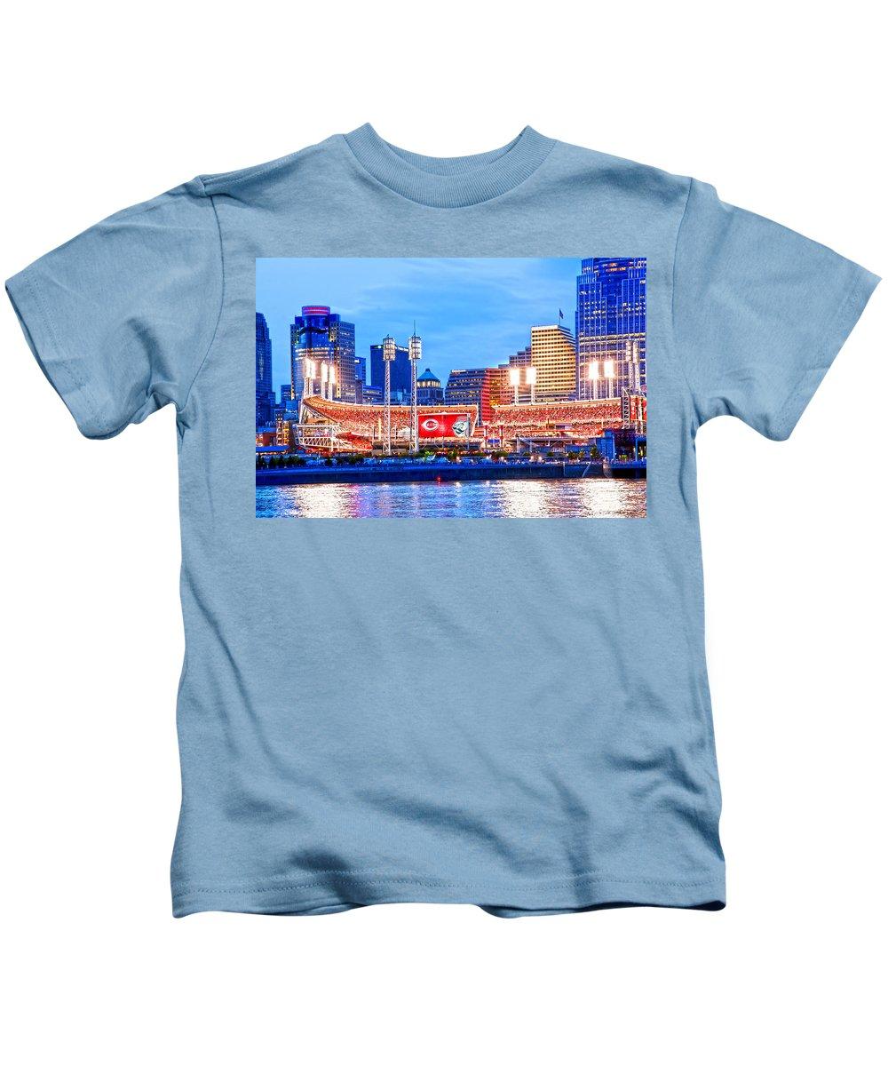 Allstars Game Kids T-Shirt featuring the photograph Ohio Pill Box Mustache Overlooks Stadium by Randall Branham