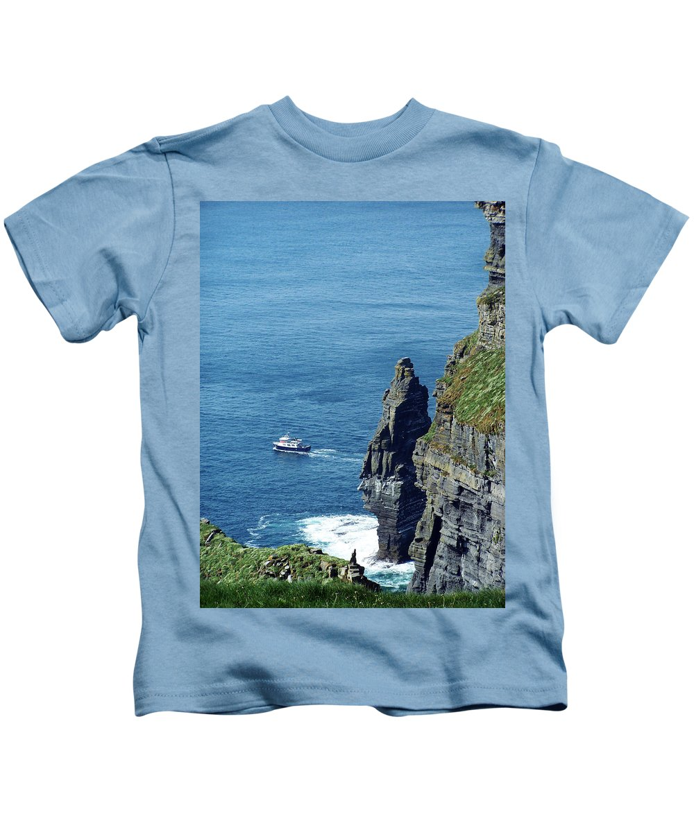 Irish Kids T-Shirt featuring the photograph The Stack And The Jack B Cliffs Of Moher Ireland by Teresa Mucha