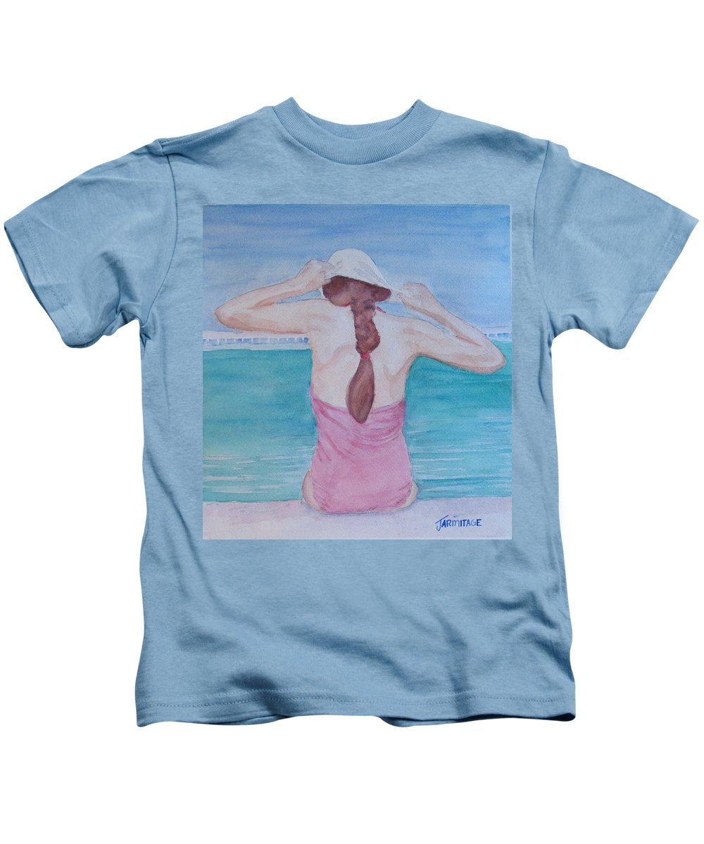 Girl Kids T-Shirt featuring the painting The Swim Cap by Jenny Armitage