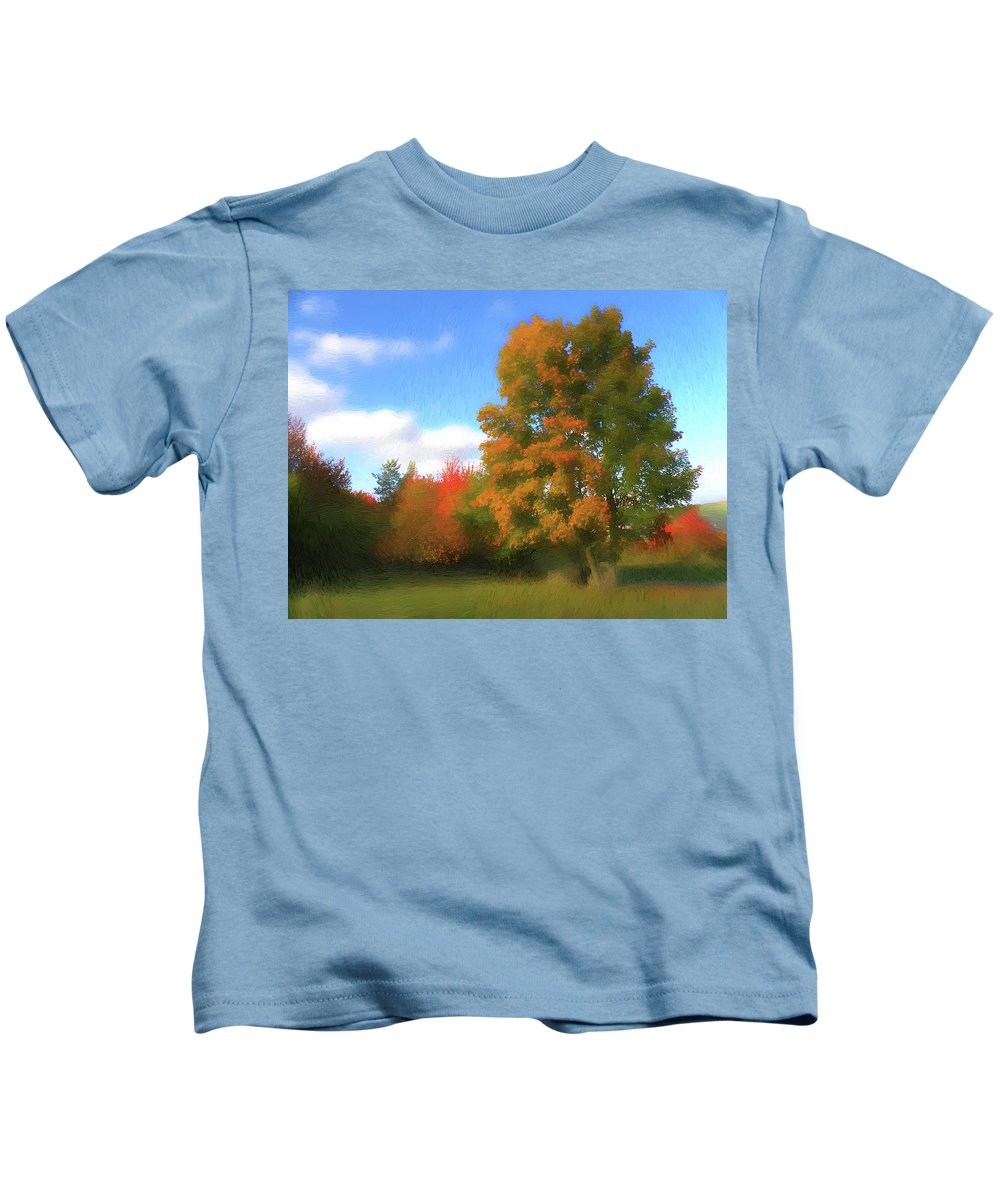 Nature Kids T-Shirt featuring the digital art The Transition From Summer To Fall. by Alex Lim